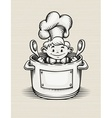 Smiling boy cooking in the vector