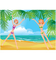 2 girls on tropical beach vector