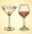 Sketch martini and wine glass in vintage style vector