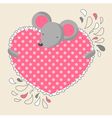 Mouse holding a heart vector
