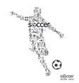 Active soccer player shape with icon soccer sport vector