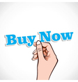 Buy now word in hand vector