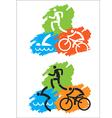 Triathlon grunge icons vector