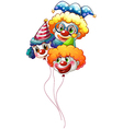 Three colourful clown balloons vector