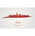 Leon skyline in red and gray background in vector