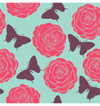 Seamless pattern with roses and butterflies vector