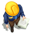 A topview of an engineer working vector