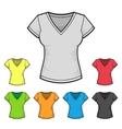 Womens v-neck t-shirt design template color set vector