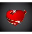 Red heart with red ribbon vector