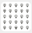 Map pointer and location icons set vector