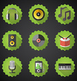 Music flat icon set include speaker mic vinyl mp3 vector