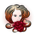 Woman with rose vector