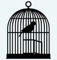 An open birdcage and bird vector