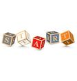 Word start written with alphabet blocks vector