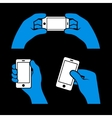 Set of hands holding smart phone vector