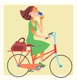 Young woman riding a bike and talking on the vector