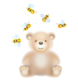 Bear bees vector