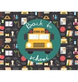 Back to school seamless pattern with yellow bus vector