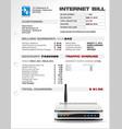 Internet isp expenses bill document template vector