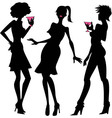 Three party girls silhouettes vector
