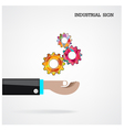 Geometric gears with businessman hand vector