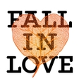 Fall in love - autumn sale poster with leaf heart vector