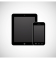 Realistic white tablet computer and mobile phone vector