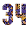 Beautiful floral numbers 3 and 4 vector