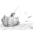 Fisherman drawing vector