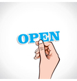 Open word in hand vector