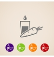 Icons set with a carrot and glass of juice healthy vector