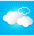 Blue background with white clouds vector