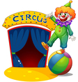 A clown at the top of a ball presenting the circus vector
