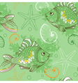 Marine seamless pattern with tropical fishes vector