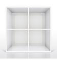3d isolated empty white bookshelf vector