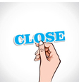 Close word in hand vector