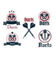 Darts icons emblems or symbols vector