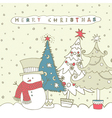 Christmas snowman card vector