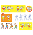 School kids icons vector