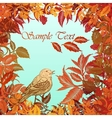 Autumn colorful background with leaves and bird vector