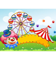 A clown in front of a ferris wheel vector