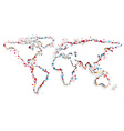 World map with confetti vector