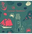 Sea coast vacation background vector