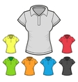 Womens polo t-shirt design template color set vector