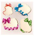 Set of beautiful cards with colorful gift bows vector