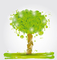 Green tree watercolor stains on a white background vector