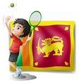 A boy playing tennis in front of the sri lanka vector
