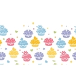 Colorful cupcake party horizontal seamless pattern vector