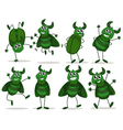 Eight green bugs vector
