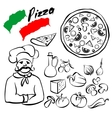 Pizza collection sketch cartoon vector